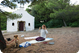 Yoga before the church in Sveti Ante Bay on Silba - photo by Zoran Pelikan